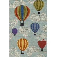 4 x 6 Small Hot Air Balloons Blue Rug - Whimsy