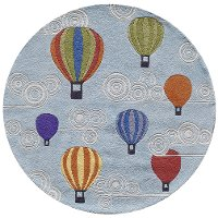 5' Round Hot Air Balloons Blue Rug - Whimsy