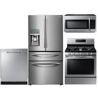 KIT Samsung 4 Piece Kitchen Appliance Package with Gas Range and 4 Door Refrigerator - Stainless Steel