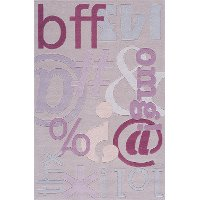 4 x 6 Small Texting Lilac Purple Area Rug - Hipster