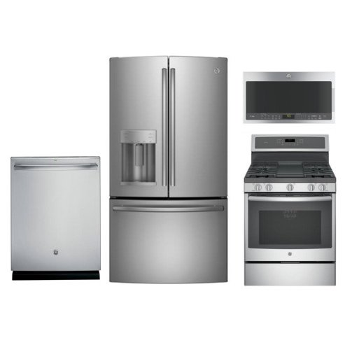 GE 4 Piece Kitchen Appliance Package with Gas Range - Stainless Steel