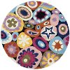 5' Round Multi-Colored Mille Fleur Area Rug - Hipster