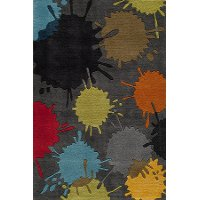 4 x 6 Small Gray Paint Ball Area Rug - Hipster