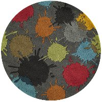 5' Round Gray Paint Ball Area Rug - Hipster