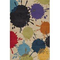 4 x 6 Small Cream Paint Ball Area Rug - Hipster