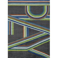 4 x 6 Small Gray and Blue Play Area Rug - Hipster
