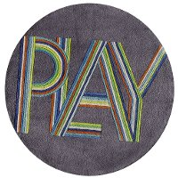 5' Round Gray and Blue Play Area Rug - Hipster