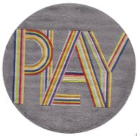 5' Round Gray and Pink Play Area Rug - Hipster