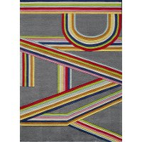 5 x 7 Medium Gray and Pink Play Area Rug - Hipster