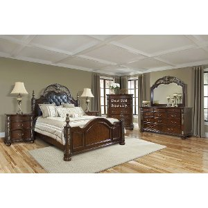 6pc 1060 Rosanna5 0 Brown Ornate Traditional 6 Piece Queen Bedroom Set