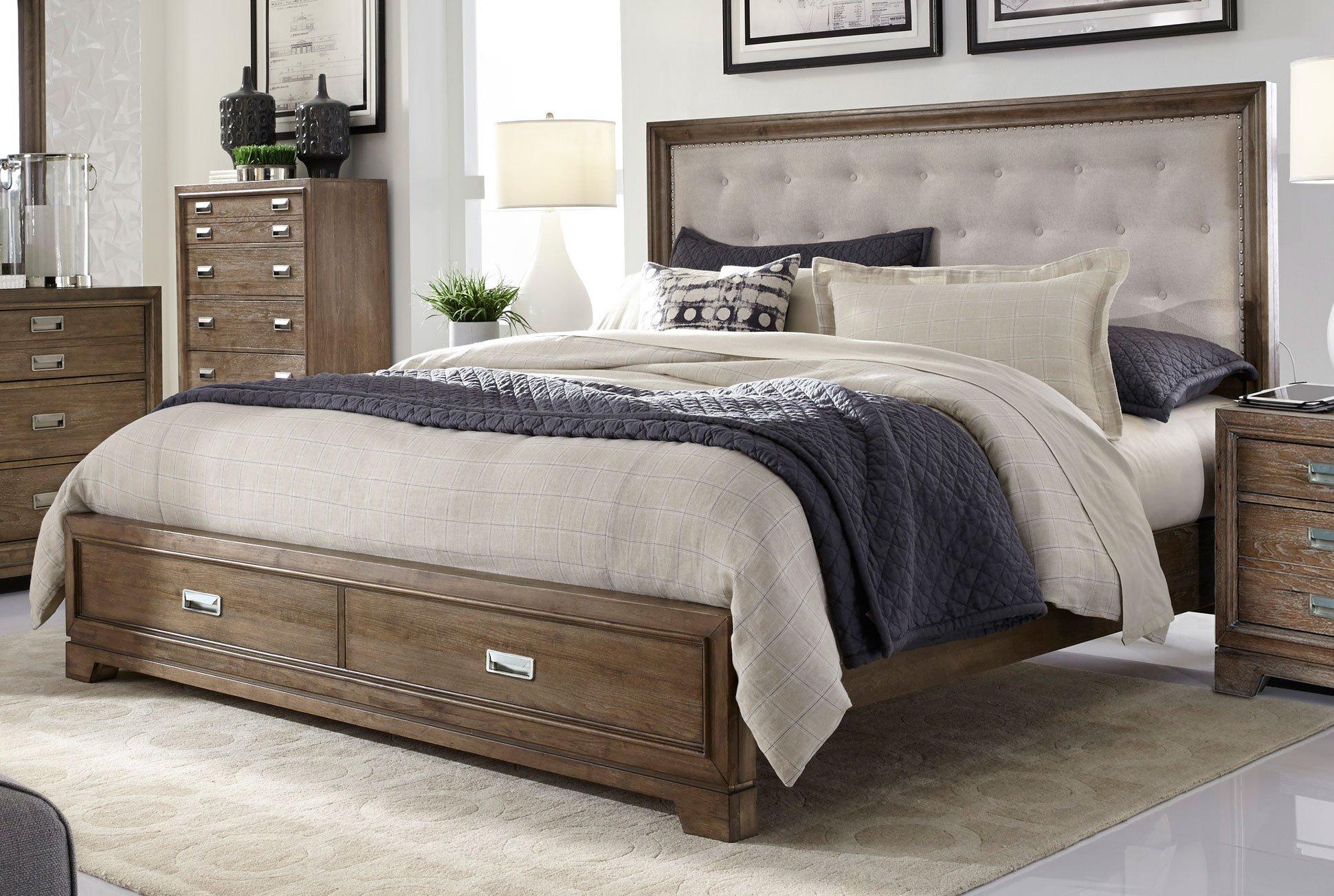 caramel brown rustic contemporary 6 piece queen bedroom
