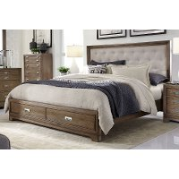Caramel Brown Rustic Contemporary King Storage Bed - Front Street