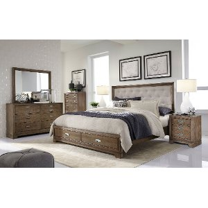 caramel brown rustic contemporary 6 piece king bedroom set front street