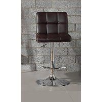 Brown and Chrome Adjustable Bar Stool - Ride