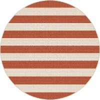 GCT1002 8RND 8' Round Terra Cotta Orange Stripe Indoor-Outdoor Rug - Garden City