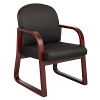 Black & Mahogany Frame Guest Office Chair