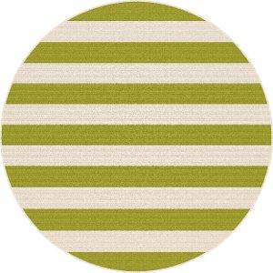 8' round green stripe indoor-outdoor rug - garden city | rc willey