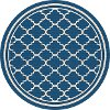 GCT1008 8RND 8' Round Navy Blue Moroccan Tile Indoor-Outdoor Rug - Garden City