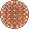 GCT1011 8RND 8' Round Terra Cotta Orange Moroccan Tile Indoor-Outdoor Rug - Garden City