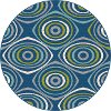 GCT1017 8RND 8' Round Geometric Navy Blue Indoor-Outdoor Rug - Garden City