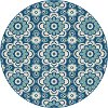 GCT1018 8RND 8' Round Floral Navy Blue Indoor-Outdoor Rug - Garden City