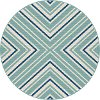 GCT1023 8RND 8' Round Blue and Aqua Indoor-Outdoor Rug - Garden City