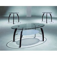 Glass 3 Piece Coffee Table Set - Stellar