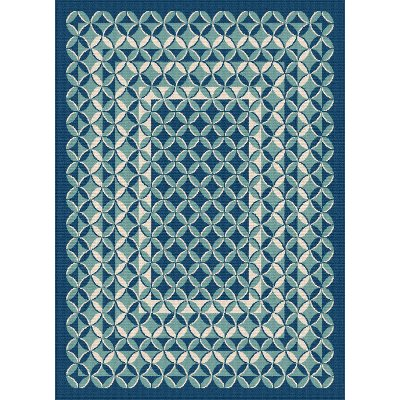 8 x 10 Large Geometric Navy Blue Indoor-Outdoor Rug - Garden City ...