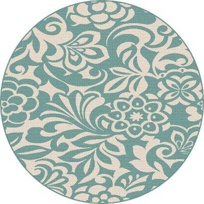 ' round floral aqua indoor/outdoor area rug  garden city  rc, aqua blue round rug, aqua round area rugs, aqua round rug