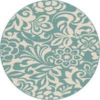 GCT1030 8RND 8' Round Floral Aqua Indoor-Outdoor Rug - Garden City