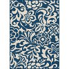 GCT1031 5x8 5 x 7 Medium Floral Navy Blue Indoor-Outdoor Rug - Garden City