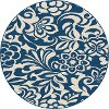 GCT1031 8RND 8' Round Floral Navy Blue Indoor-Outdoor Rug - Garden City