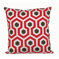 Red, Cream and Brown Geometric Throw Pillow