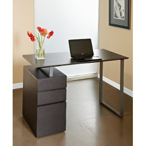 home office desk in espresso finish with steel base rc willey furniture store
