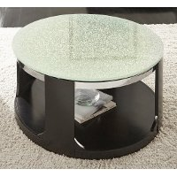 Glass Top Round Cocktail Table on Wheels - Croften