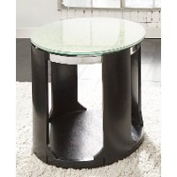 Crackle Glass Top Round End Table - Croften