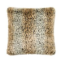 Tan and Black Faux Fur Throw Pillow