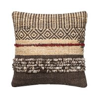 Brown and Red Wool Textured Throw Pillow