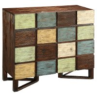 Multi-Color 2 Drawer and 2 Door Wood Cabinet