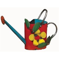 Metal Watering Can with Flower Decor