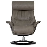 Dove Gray Leather Recliner & Swivel Chair with Ottoman ...