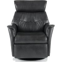 Charcoal Gray Large Leather Swivel Glider Power Recliner - Captain