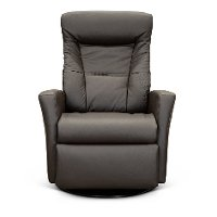 Coffee Brown Large Leather Swivel Glider Power Recliner - Grove