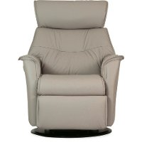 Cinder Taupe Standard Leather Swivel Glider Manual Recliner - Captain