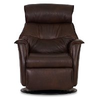 Truffle Brown Leather Compact Swivel Glider Power Recliner - Captain