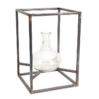 15 Inch Glass Vase with Metal Frame