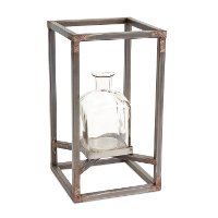 12 Inch Glass Vase with Metal Frame