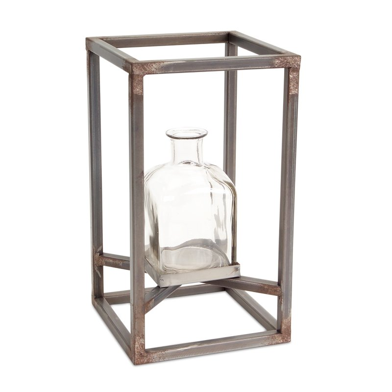 12 inch glass vase with metal frame rcwilley image1~800