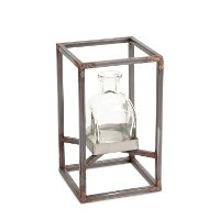 7 Inch Glass Vase with Metal Frame