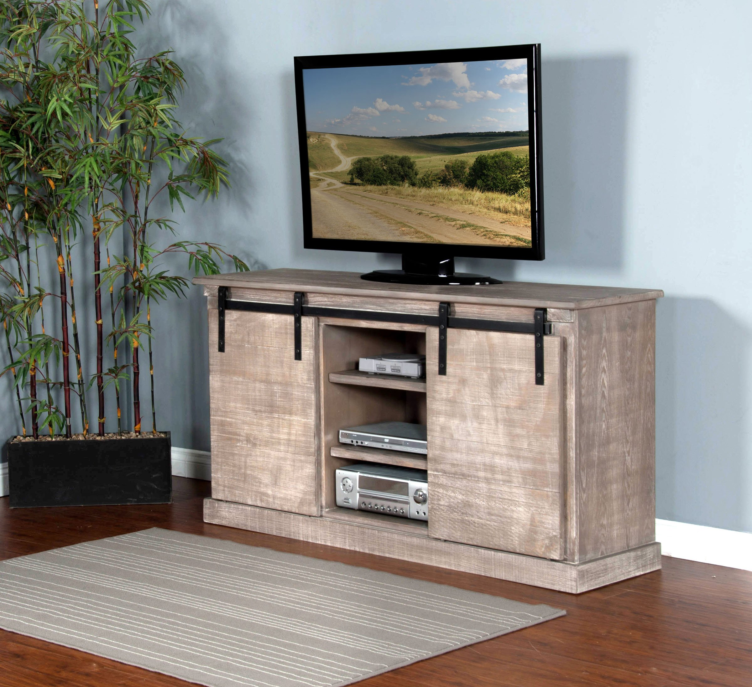 62 inch rustic distressed gray tv stand - Rustic Center